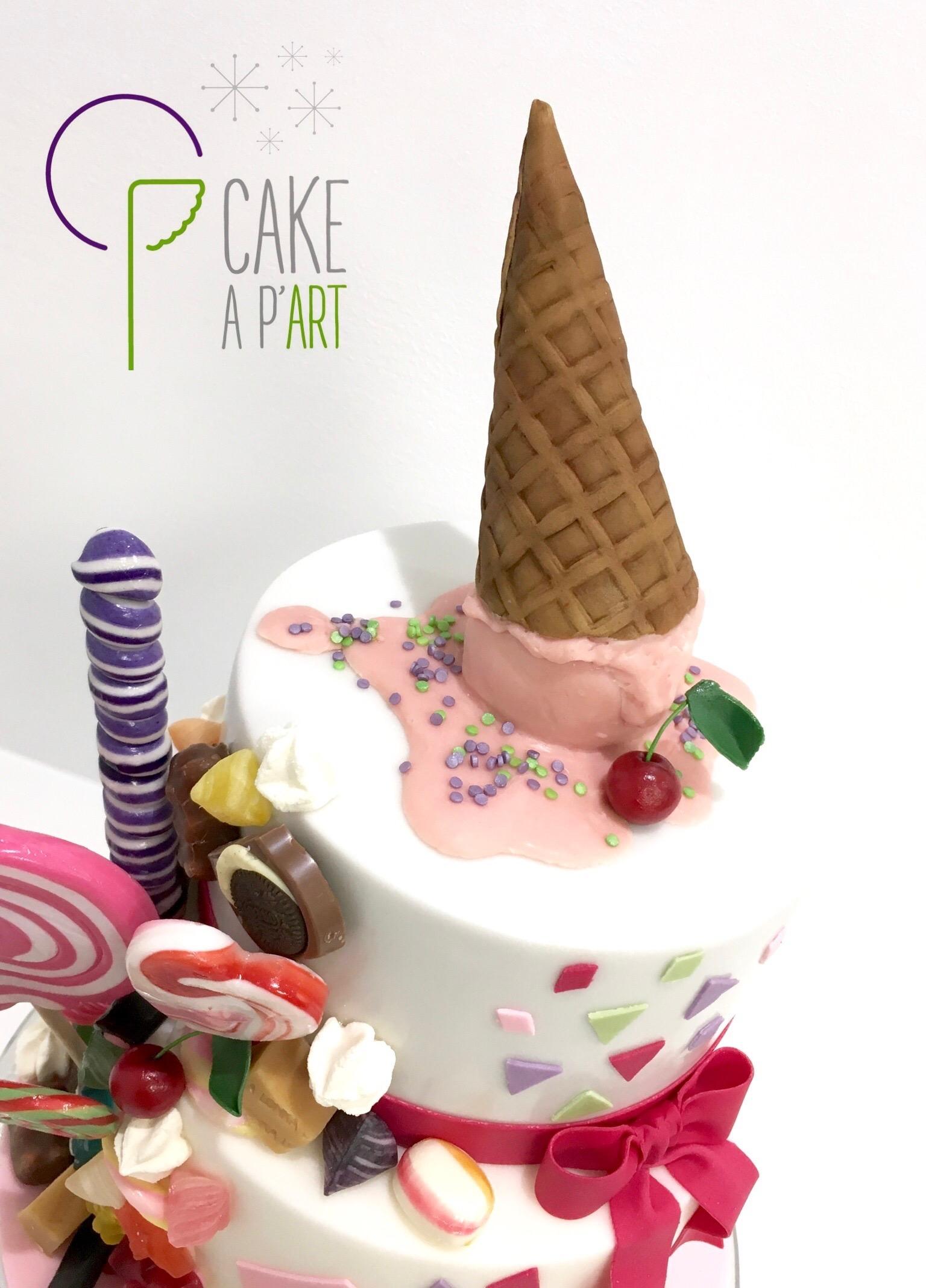 Décor modelage en sucre gâteaux personnalisés - Anniversaire Thème Cornet de glace et gourmandises