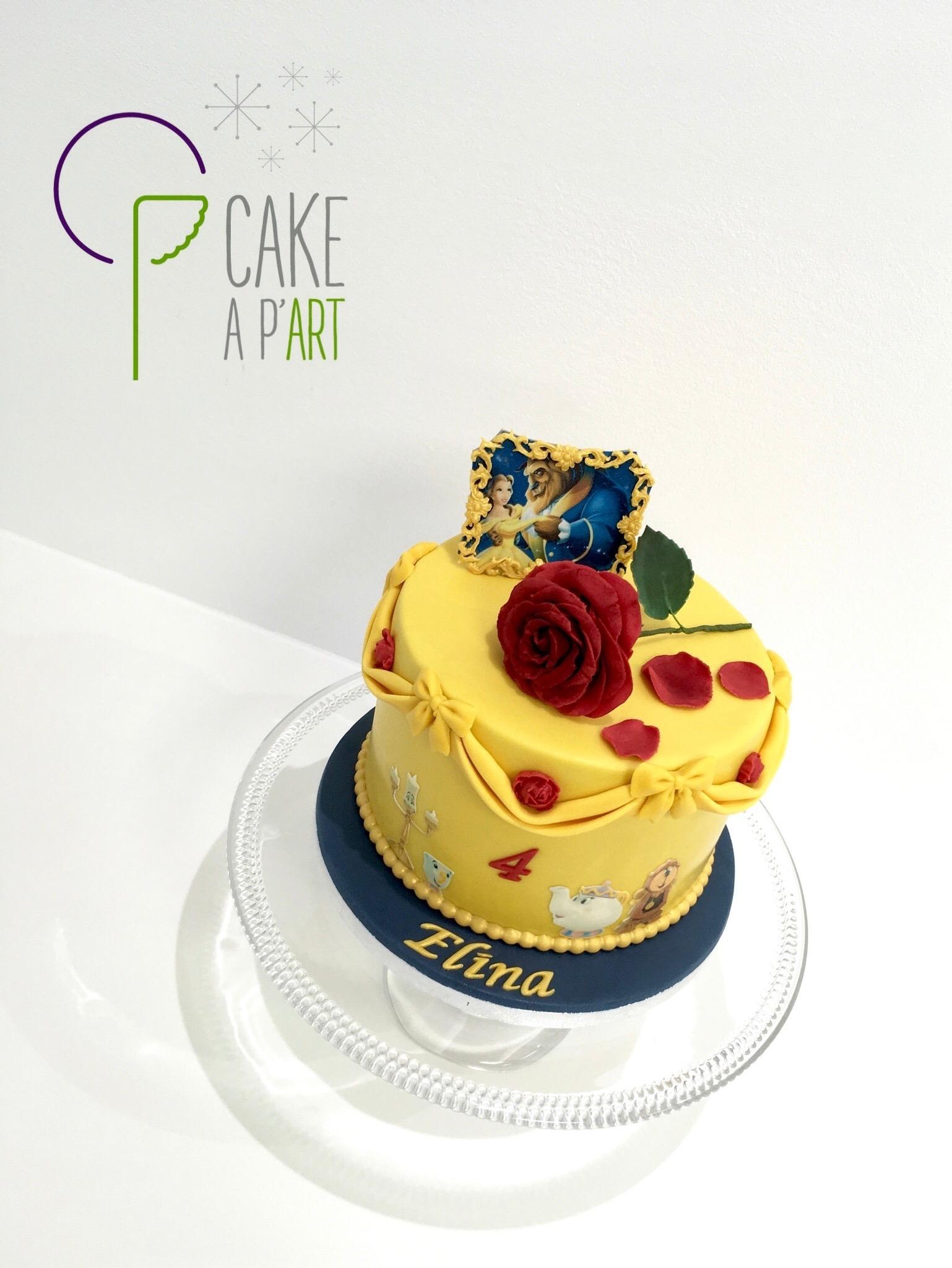 - Gâteau personnalisé anniversaire enfant - Thème La belle et la bête