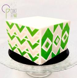 Gâteau sur mesure anniversaire adulte - Thème Carreaux Graphique