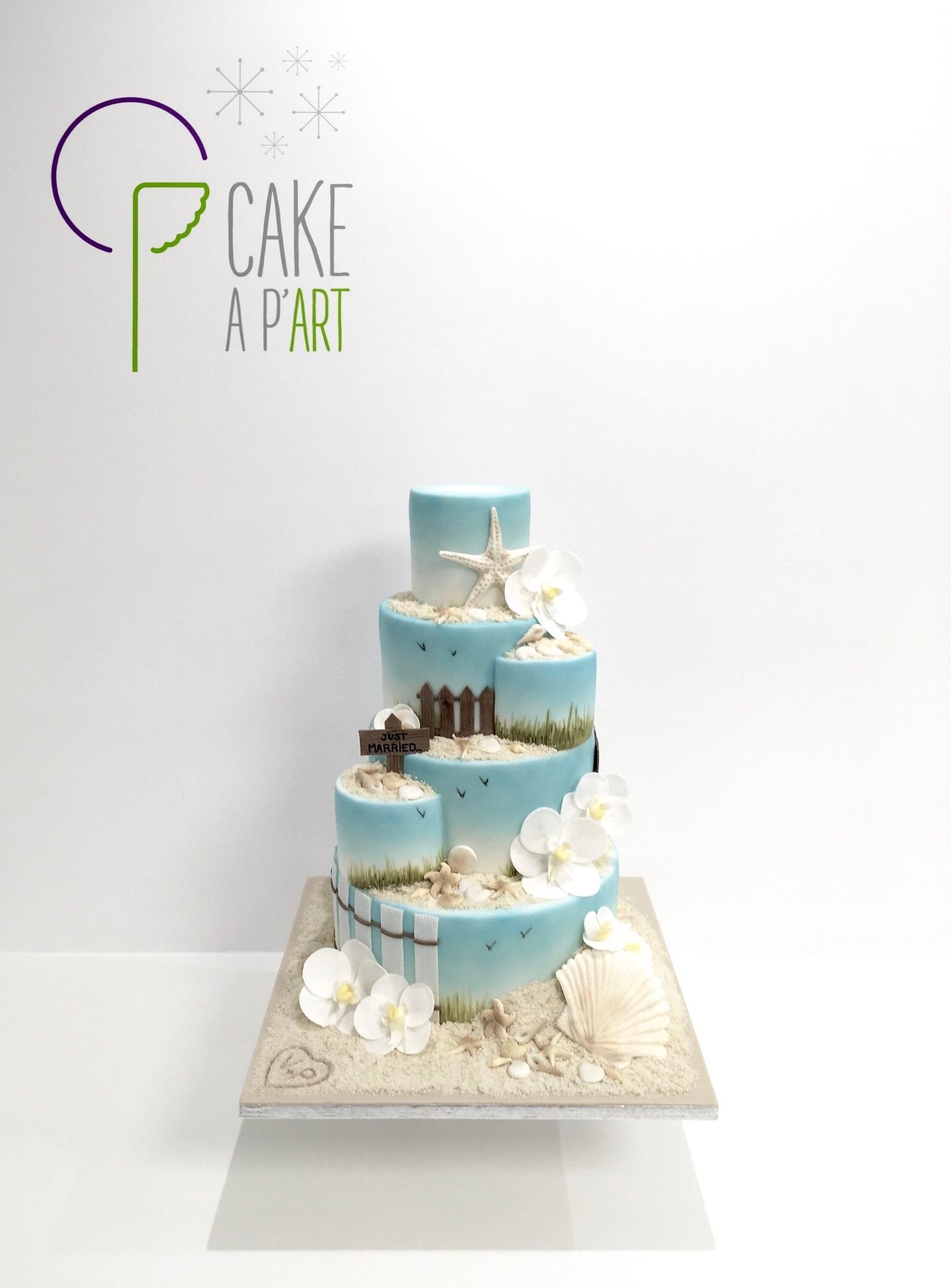 Wedding Cake Pièce montée Mariage - Thème Mer et Bord de plage