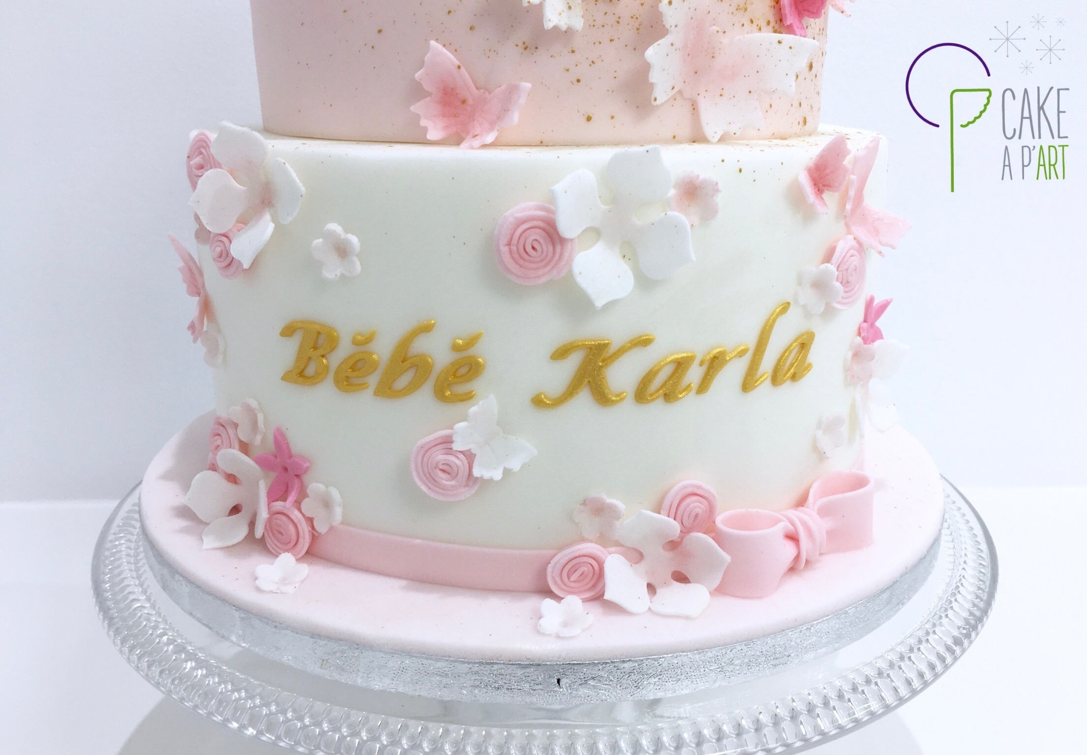 - Gâteau personnalisé babyshower enfant - Thème Ourson papillons