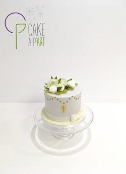 - Gâteau personnalisé baptême enfant - Thème Floral Bouquet Roses et feuillage