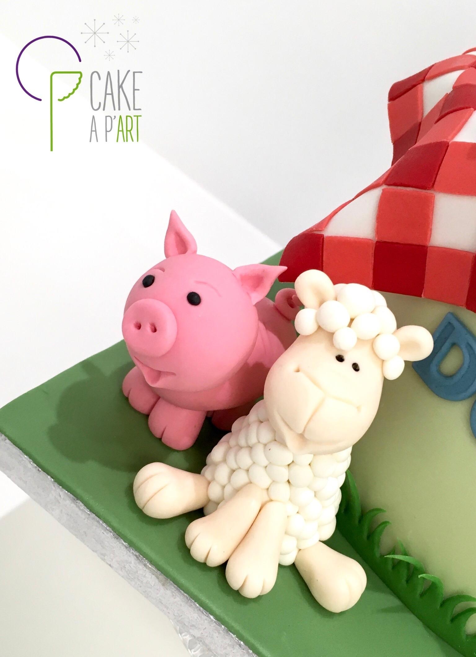 Décor modelage en sucre gâteaux personnalisés - Anniversaire Thème Ferme et animaux