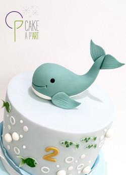 Décor modelage en sucre gâteaux personnalisés - Anniversaire Thème Marin et baleine