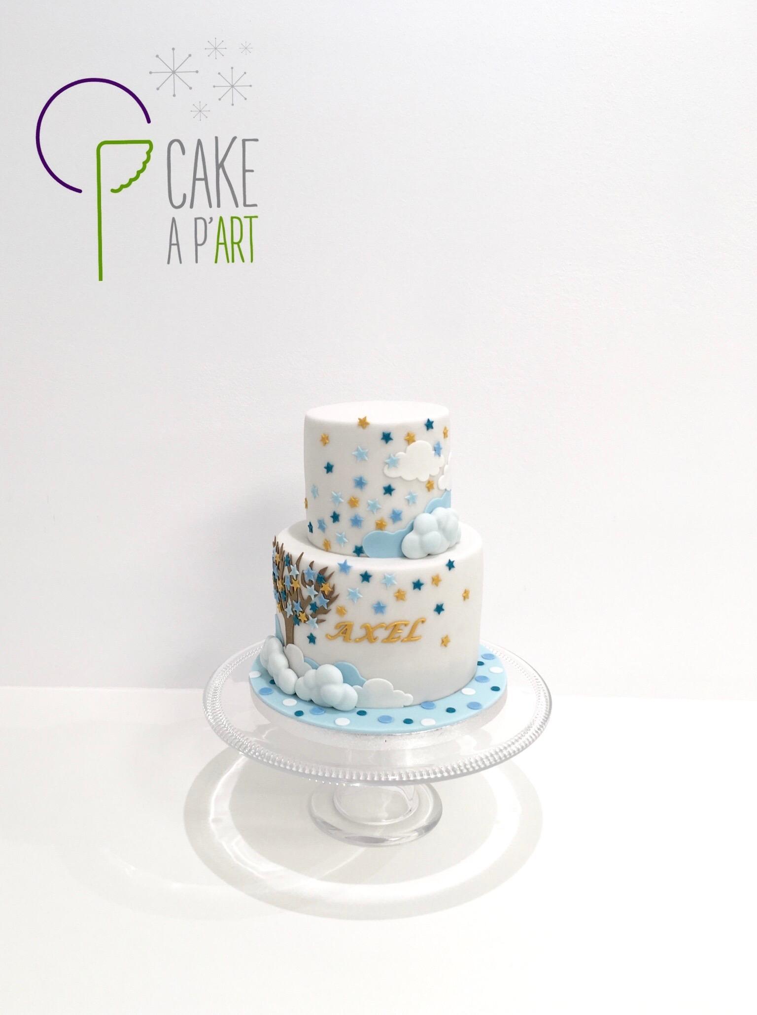 - Gâteau personnalisé naissance enfant - Thème arbre étoilé