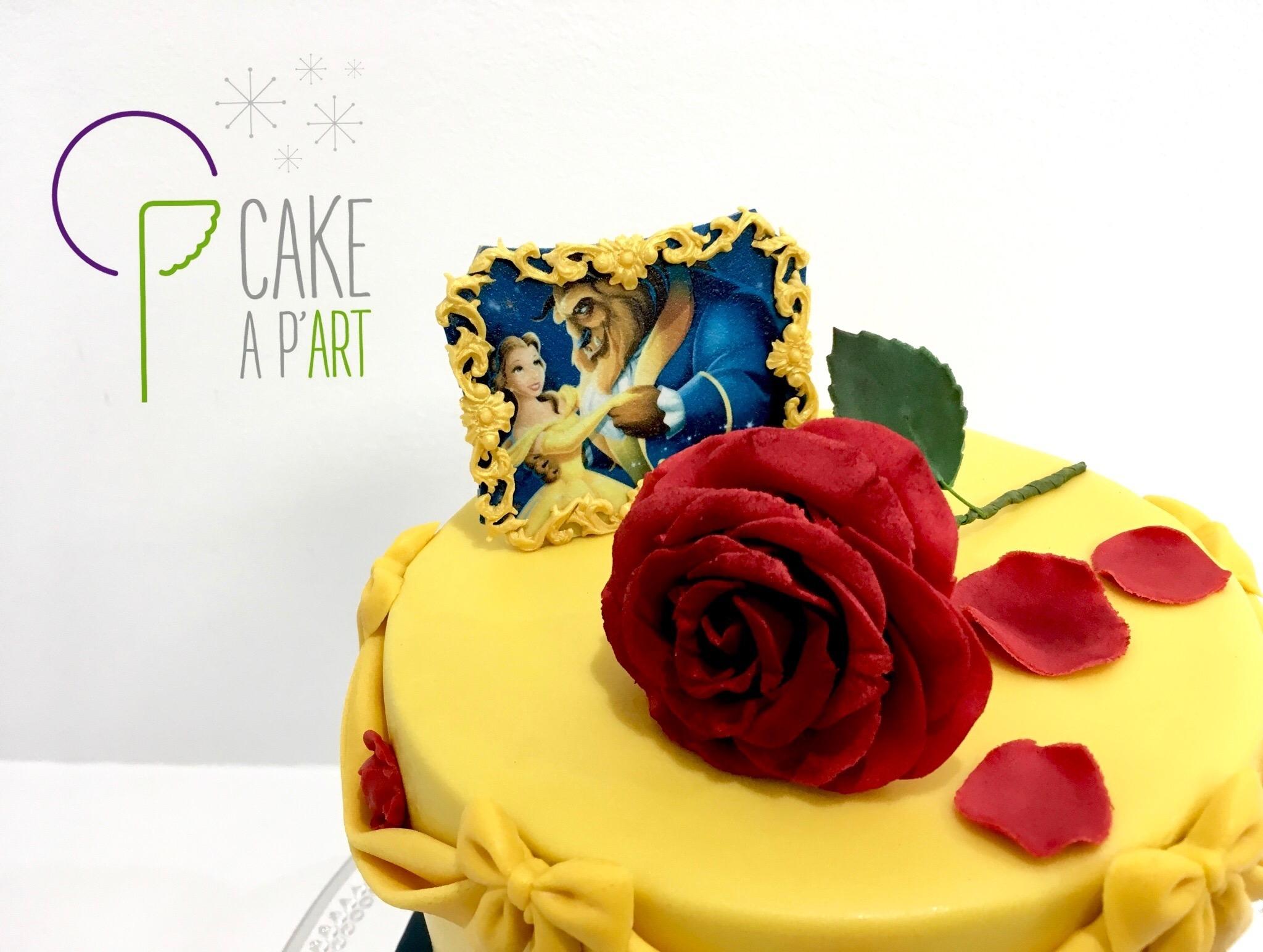 Décor en sucre gâteaux personnalisés - Mariage fleurs Rose rouge La Belle et la Bête