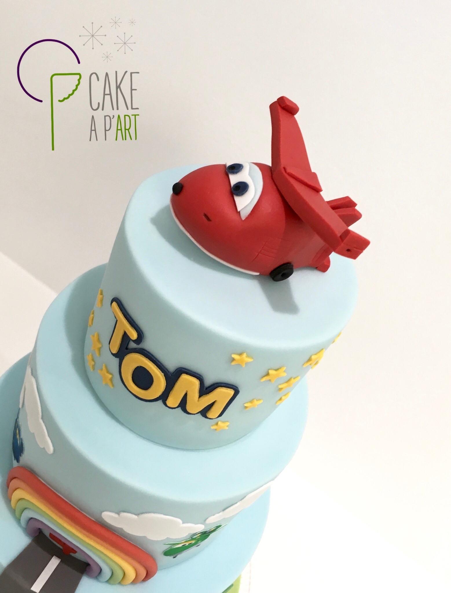 Décor modelage en sucre gâteaux personnalisés - Anniversaire Thème Super Wings Avion rouge Jett
