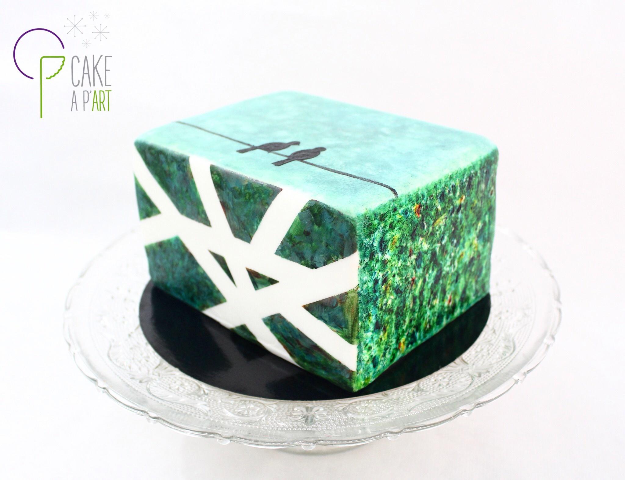 Gâteau sur mesure anniversaire adulte - Thème Jardin graphique et oiseaux
