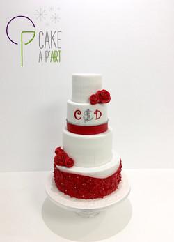 Wedding Cake Pièce montée Mariage - Thème Marin Rouge et Blanc