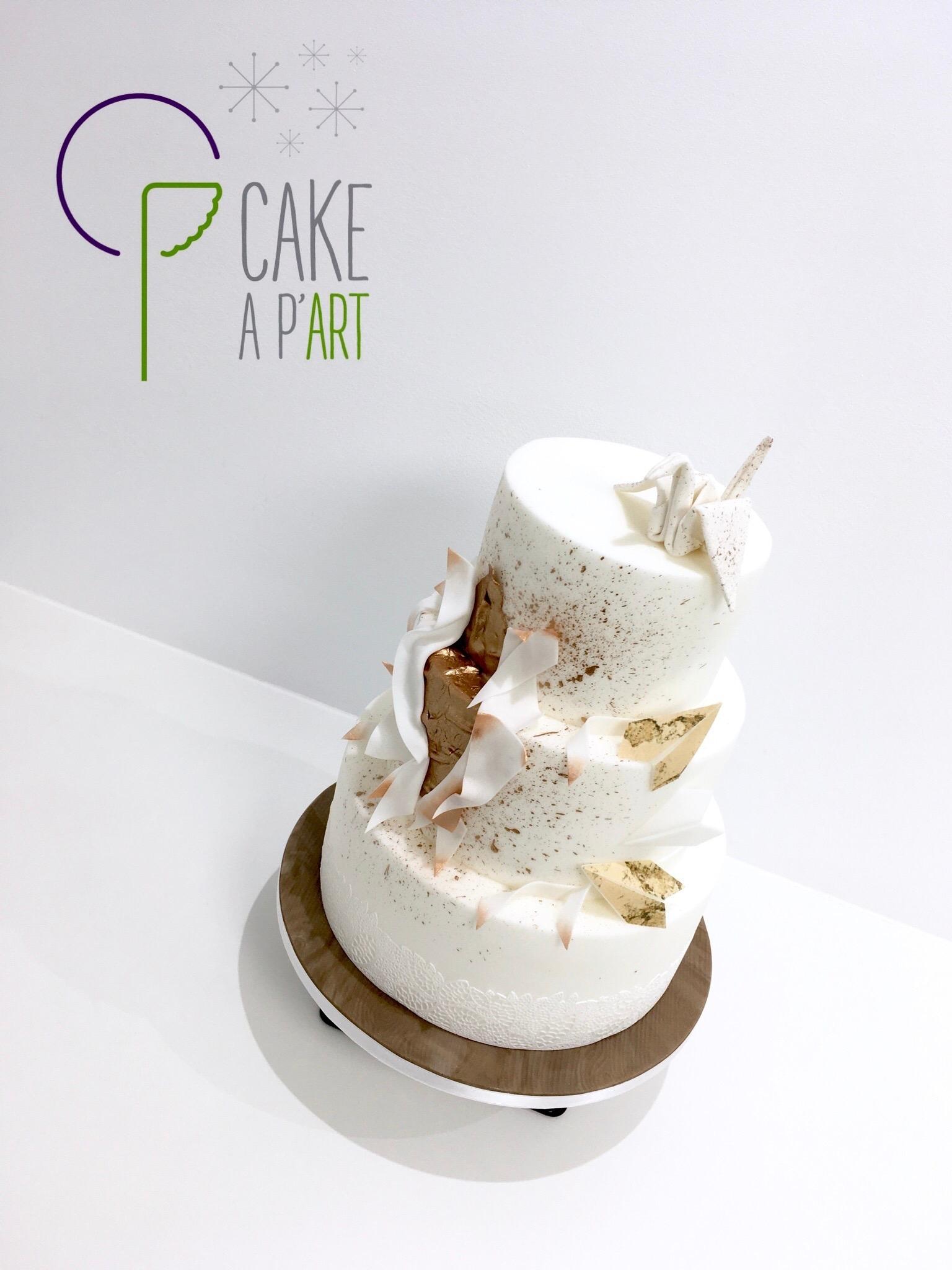 Wedding Cake Pièce montée Mariage - Thème Origami graphique et Cuivre