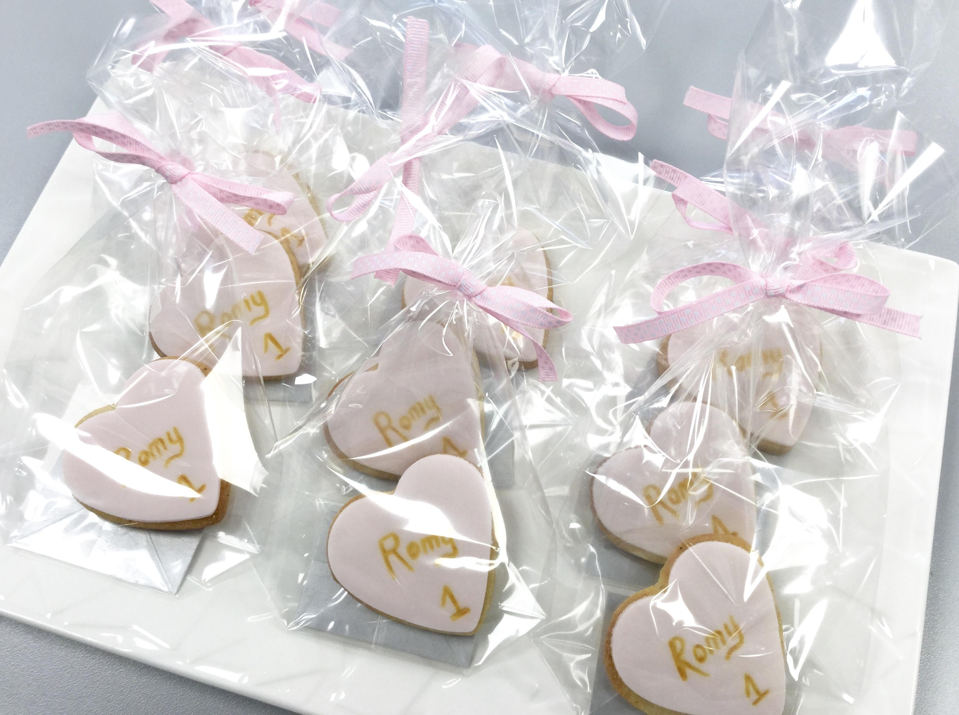 Gâteaux individuels personnalisés Anniversaire - Sablés décorés Coeurs