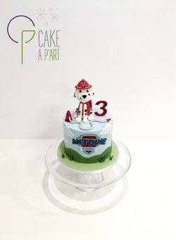 - Gâteau personnalisé anniversaire enfant - Thème Pat patrouille Pompier Chien Marcus