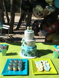 Gâteaux individuels personnalisés Anniversaire - Mini cupcakes et sablés décorés Thème Mickey bébé