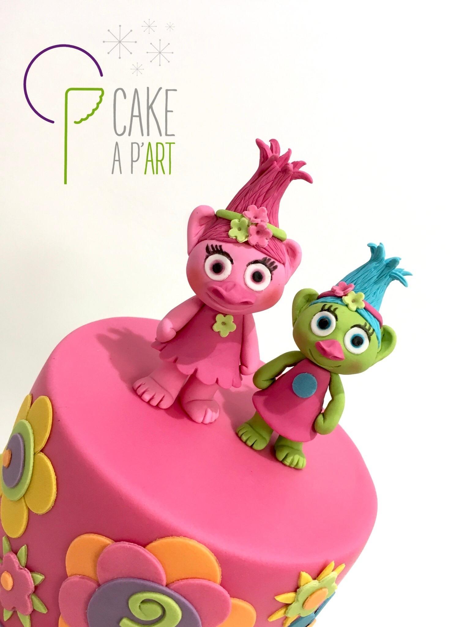 Décor modelage en sucre gâteaux personnalisés - Anniversaire Thème Les Trolls