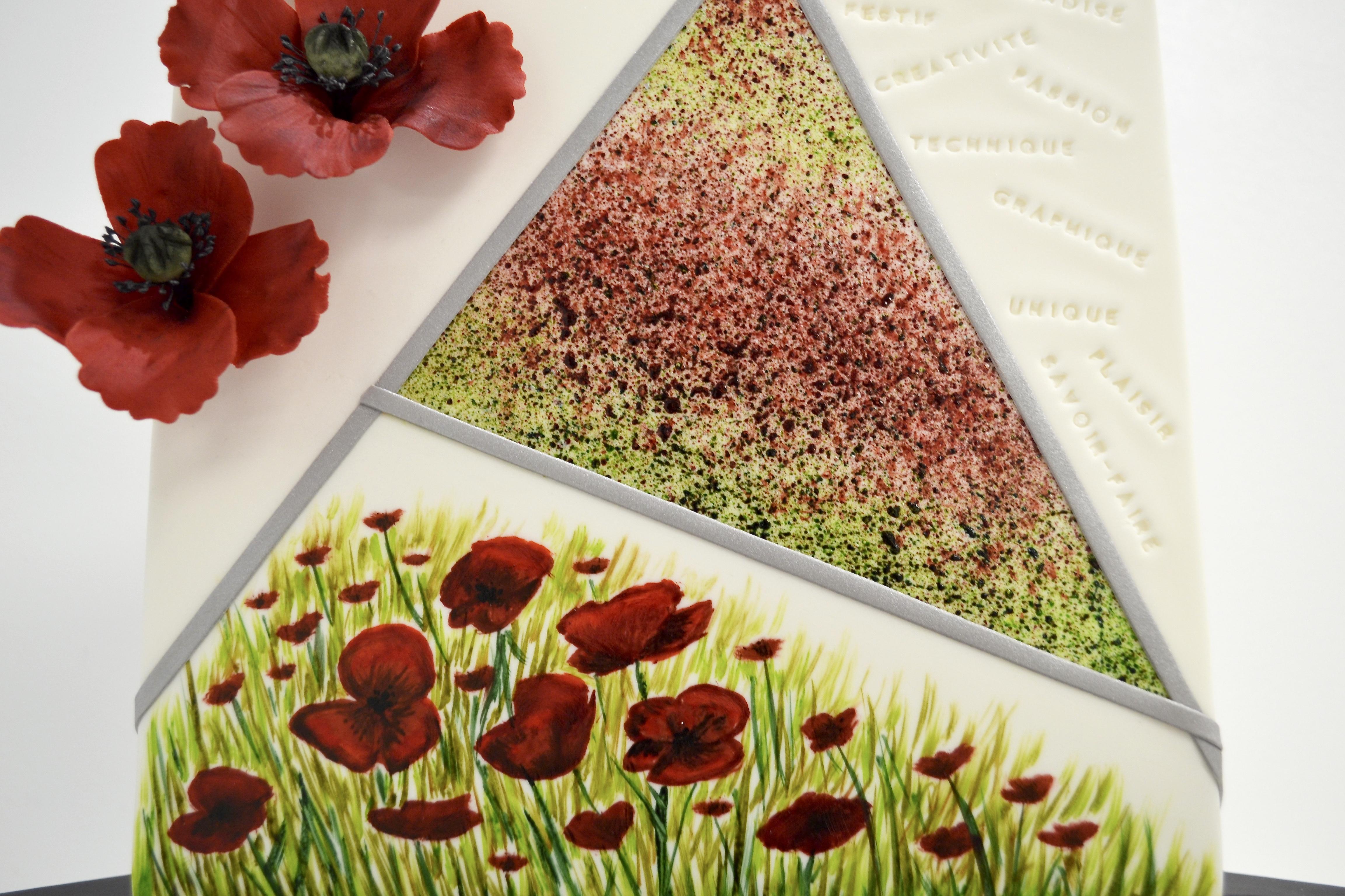 Gâteau sur mesure anniversaire adulte - Thème Printemps et coquelicots
