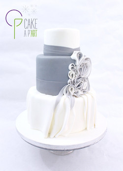 Wedding Cake Pièce montée Mariage - Thème Haute couture Drapé Gris