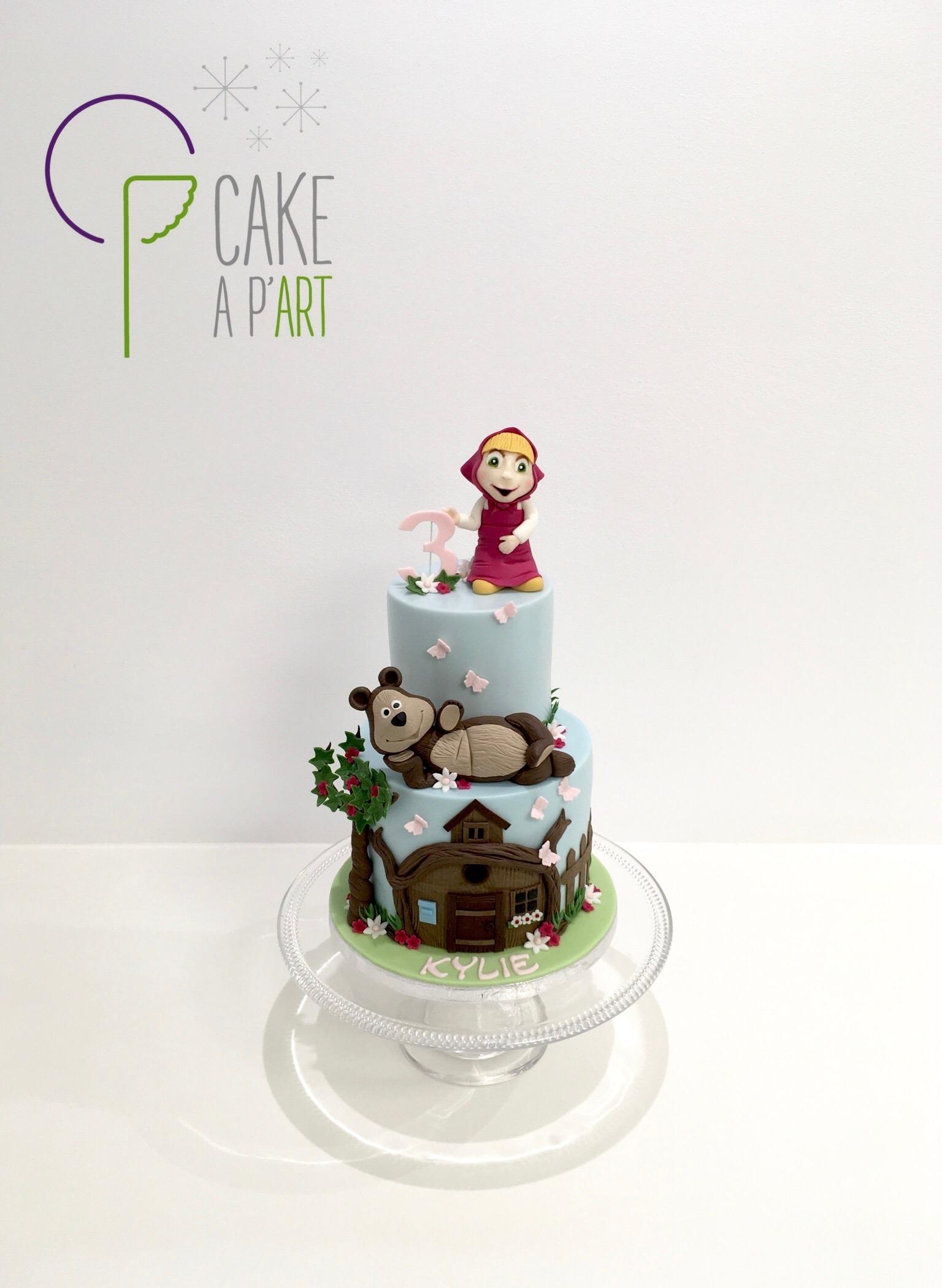 - Gâteau personnalisé anniversaire enfant - Thème Masha et Michka Maison bois
