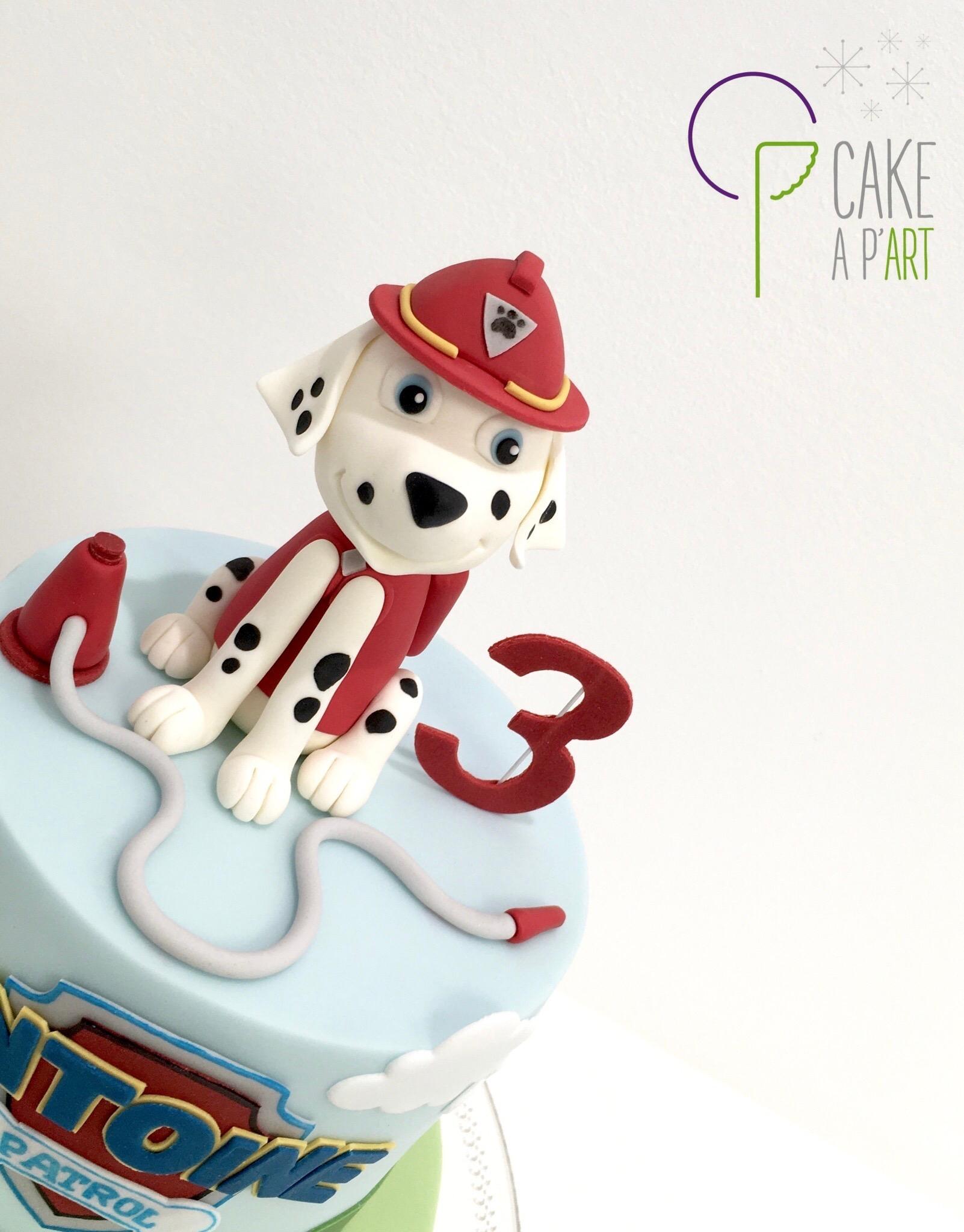 Décor modelage en sucre gâteaux personnalisés - Anniversaire Pat patrouille Modelage chien Marcus