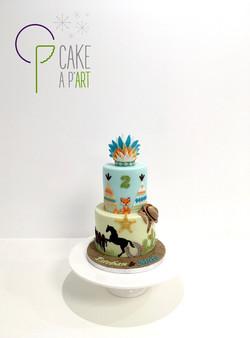 - Gâteau personnalisé anniversaire enfant - Thème Cowboy et indien