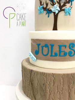 - Gâteau personnalisé baptême enfant - Thème Nature et moulin à vent