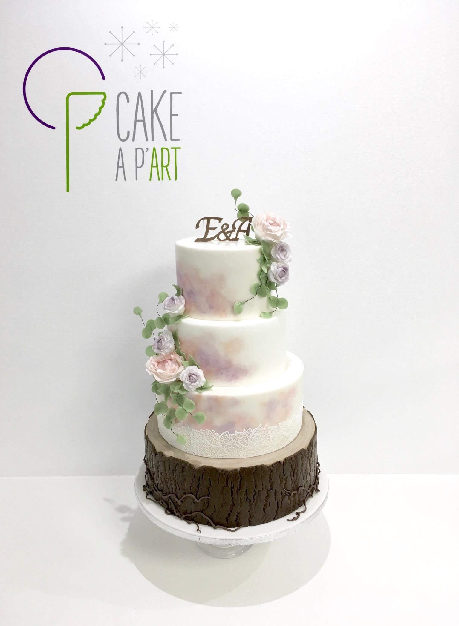 Wedding Cake Pièce montée Mariage - Thème Aquarelle Romantique Bois