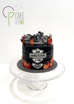 Gâteau sur mesure anniversaire adulte - Thème Moto Harley Davidson