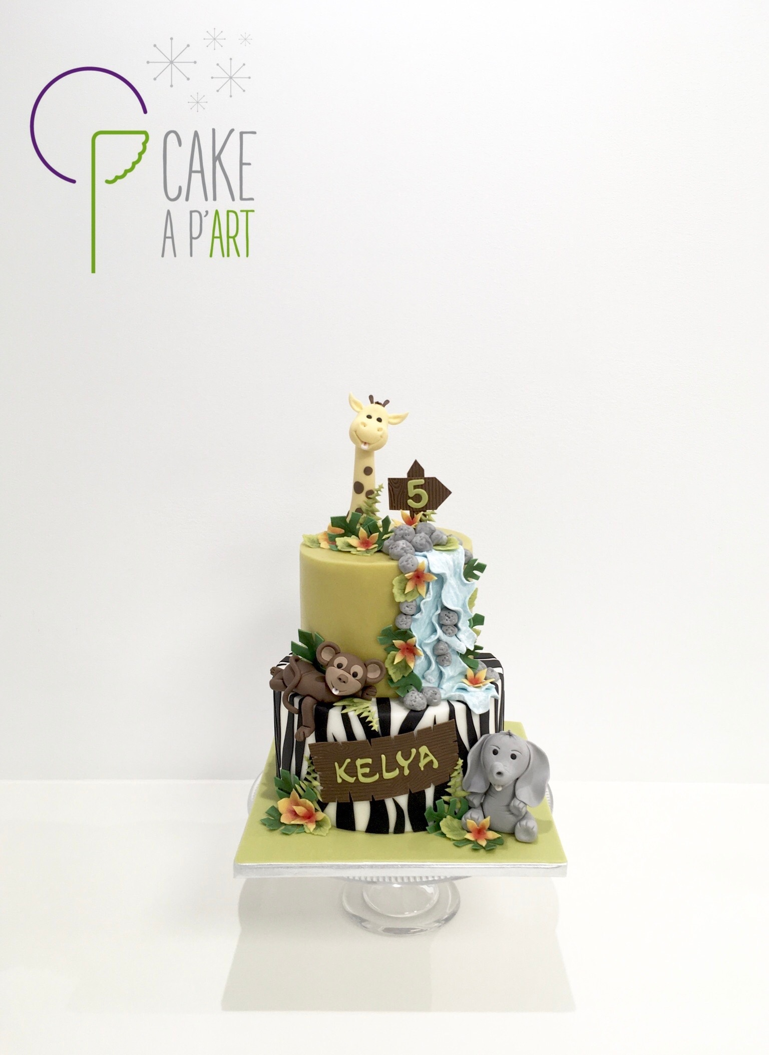 - Gâteau personnalisé anniversaire enfant - Thème Savane Jungle Exotique Animaux