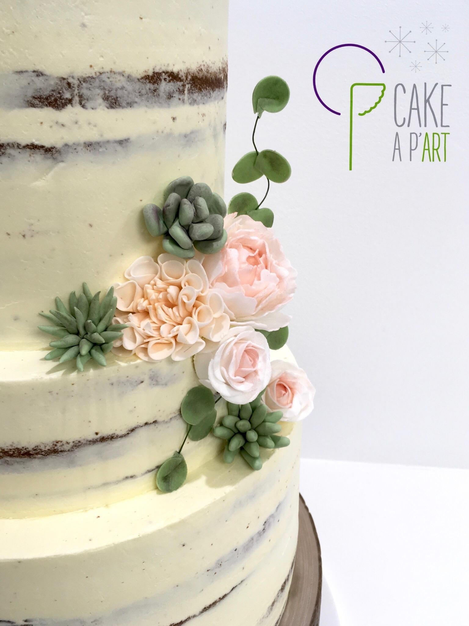 Décor en sucre gâteaux personnalisés - Nude Cake Mariage Plantes grasses et fleurs