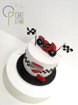 Gâteau sur mesure anniversaire adulte - Thème Moto et courses