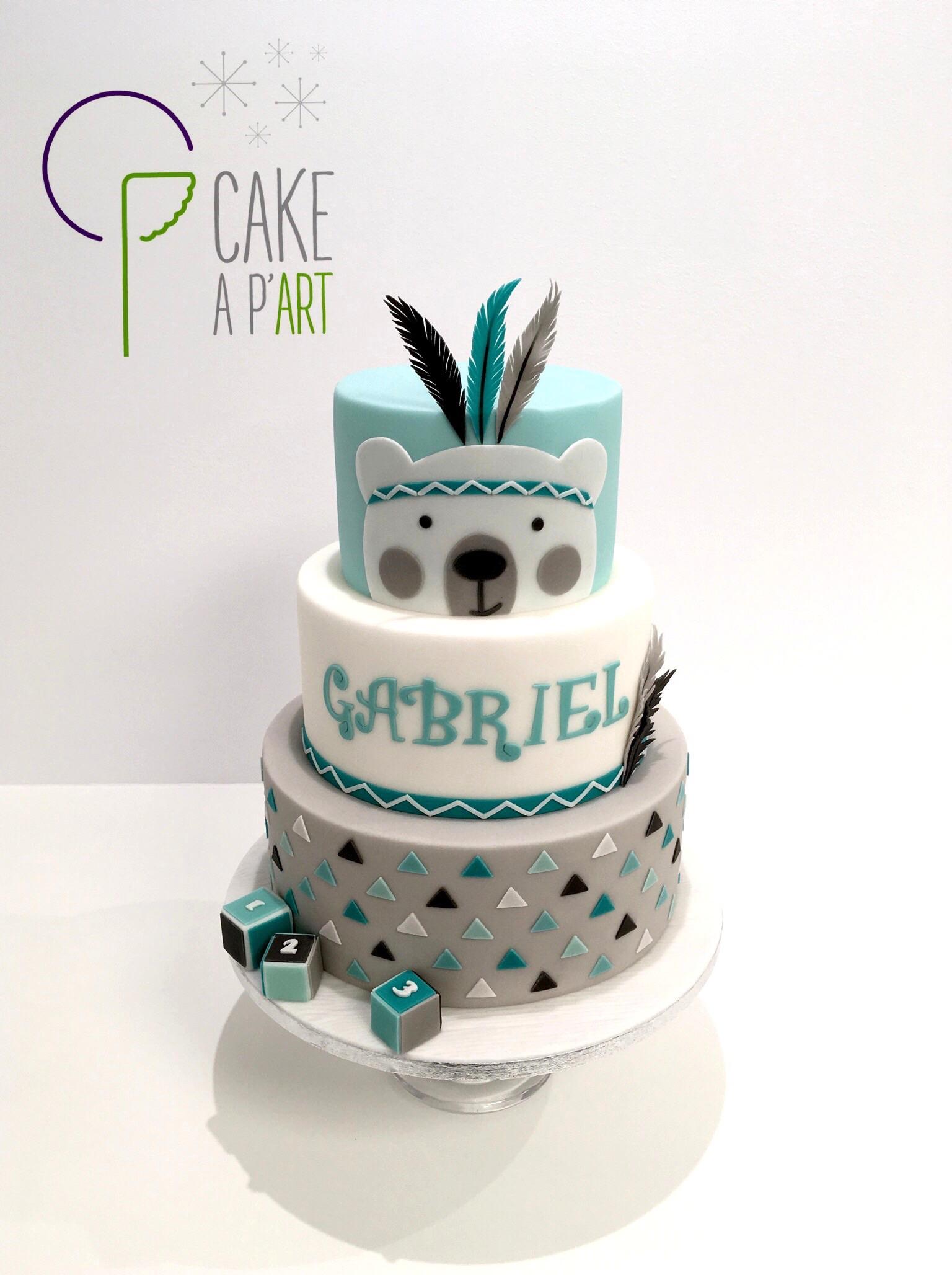 Gâteau Baptême - Ourson - Cakeapart