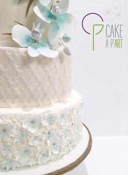 Wedding Cake Pièce montée Mariage - Thème Floral Orchidée Turquoise