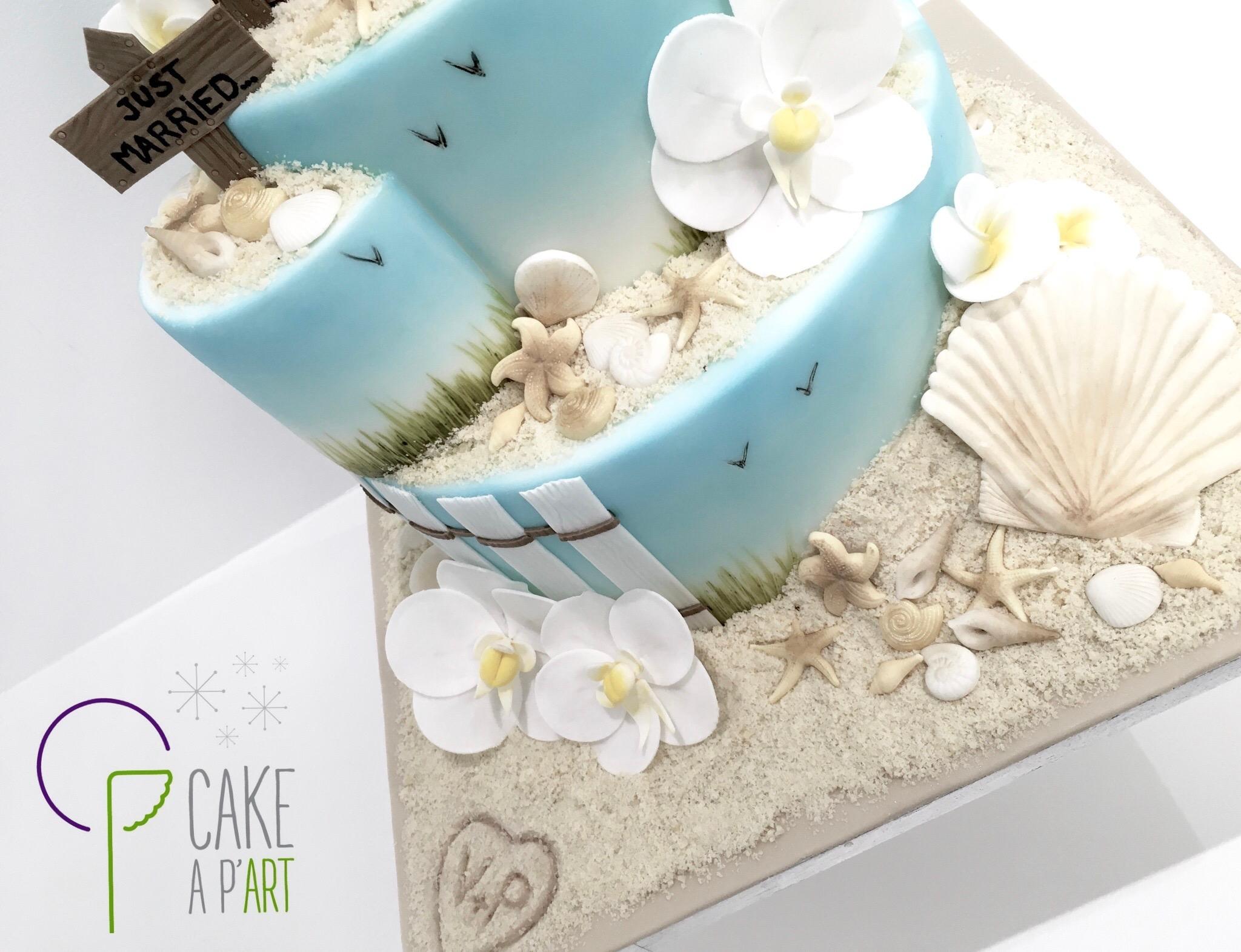 Décor en sucre gâteaux personnalisés - Mariage fleurs Orchidées et coquillages