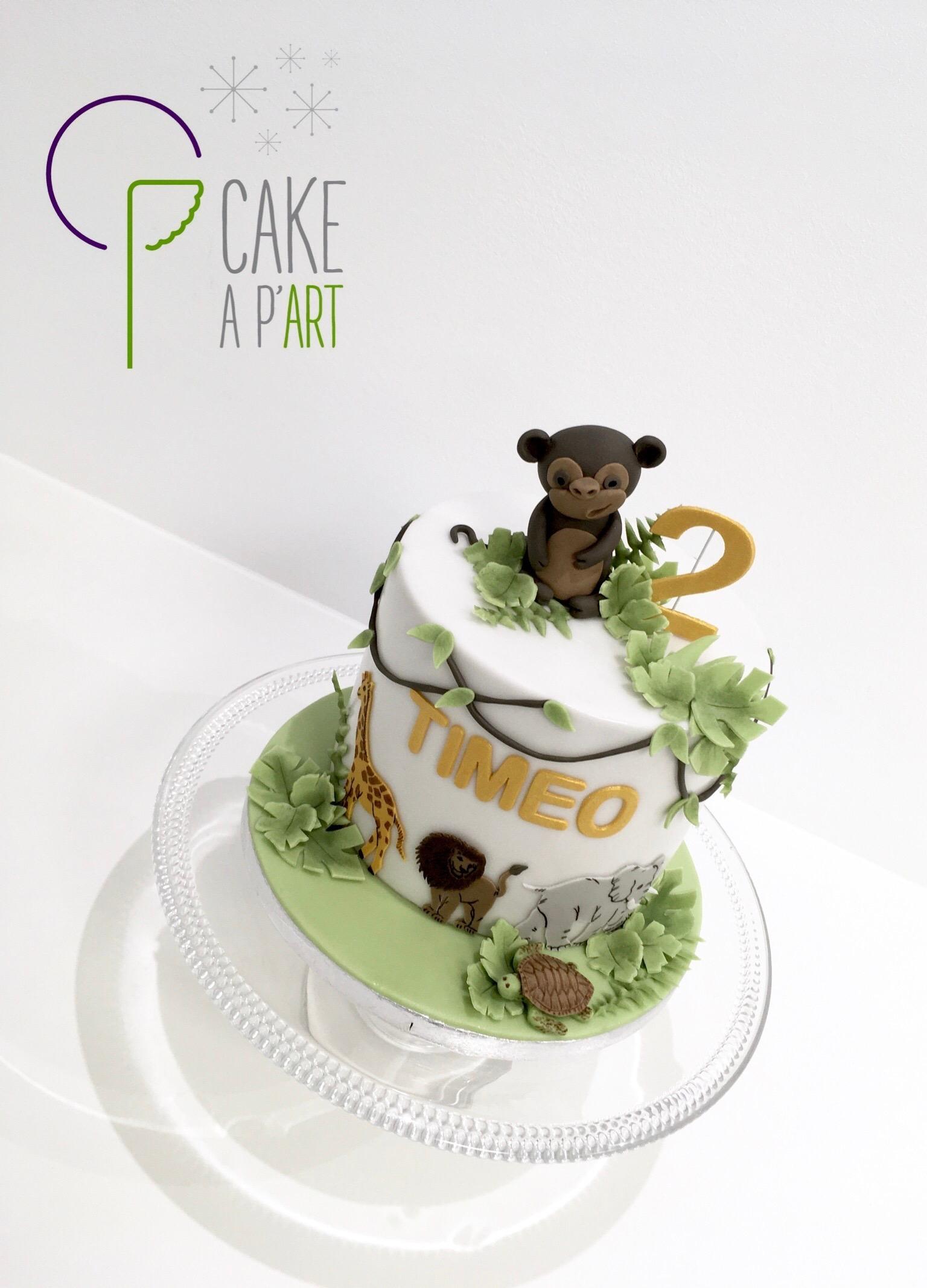 - Gâteau personnalisé anniversaire enfant - Thème Jungle savane