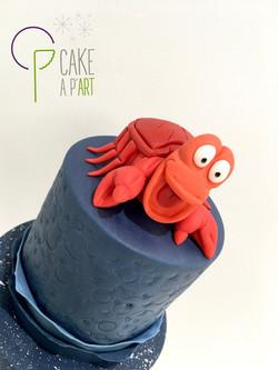 Décor modelage en sucre gâteaux personnalisés - Anniversaire Thème La petite sirène Crabe Sébastien