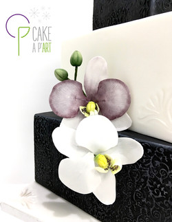 Décor en sucre gâteaux personnalisés - Mariage fleurs Orchidées