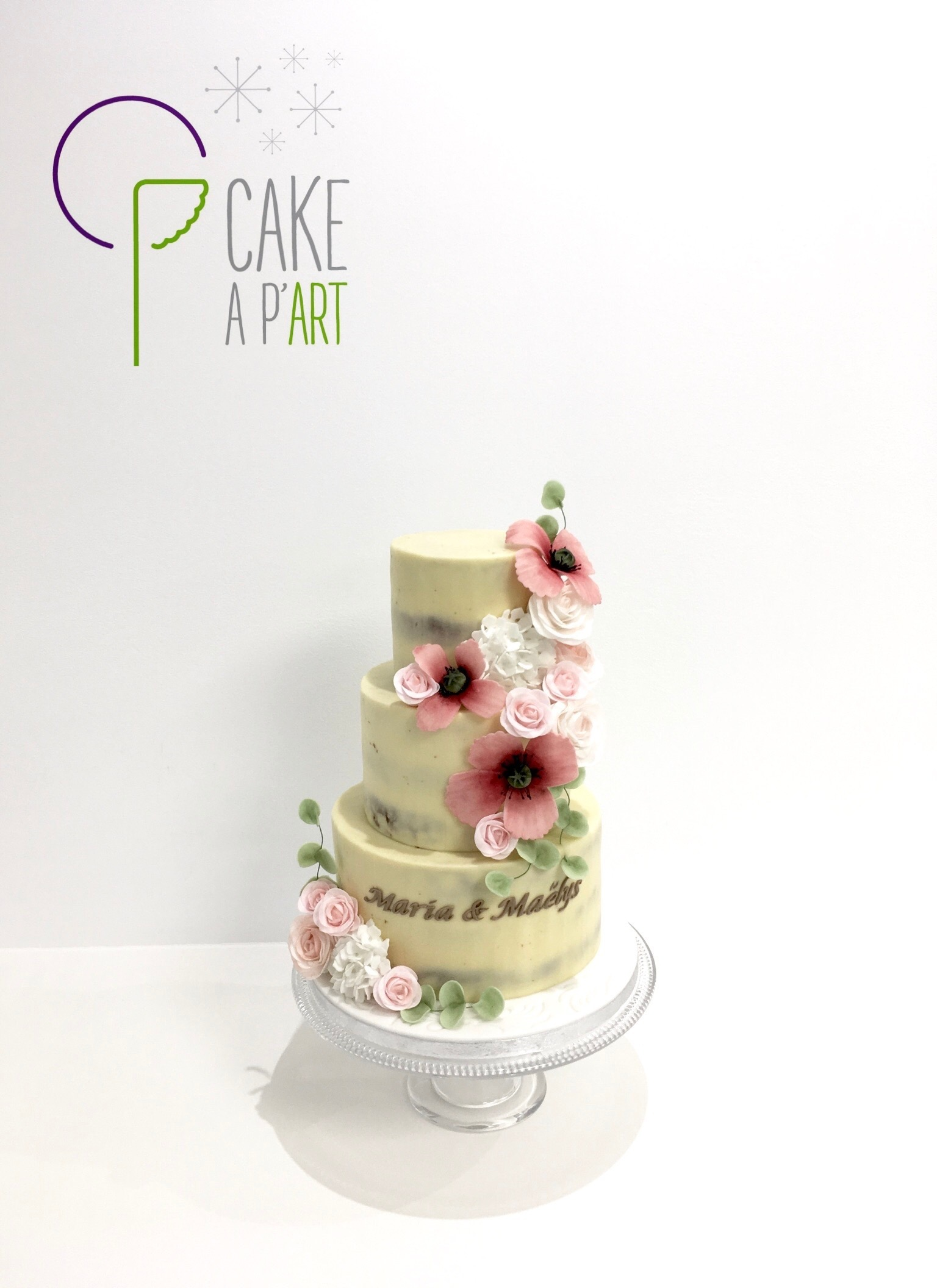 - Nude Cake personnalisé baptême enfant - Thème Champêtre coquelicot