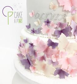 - Gâteau personnalisé baptême enfant - Thème Papillons
