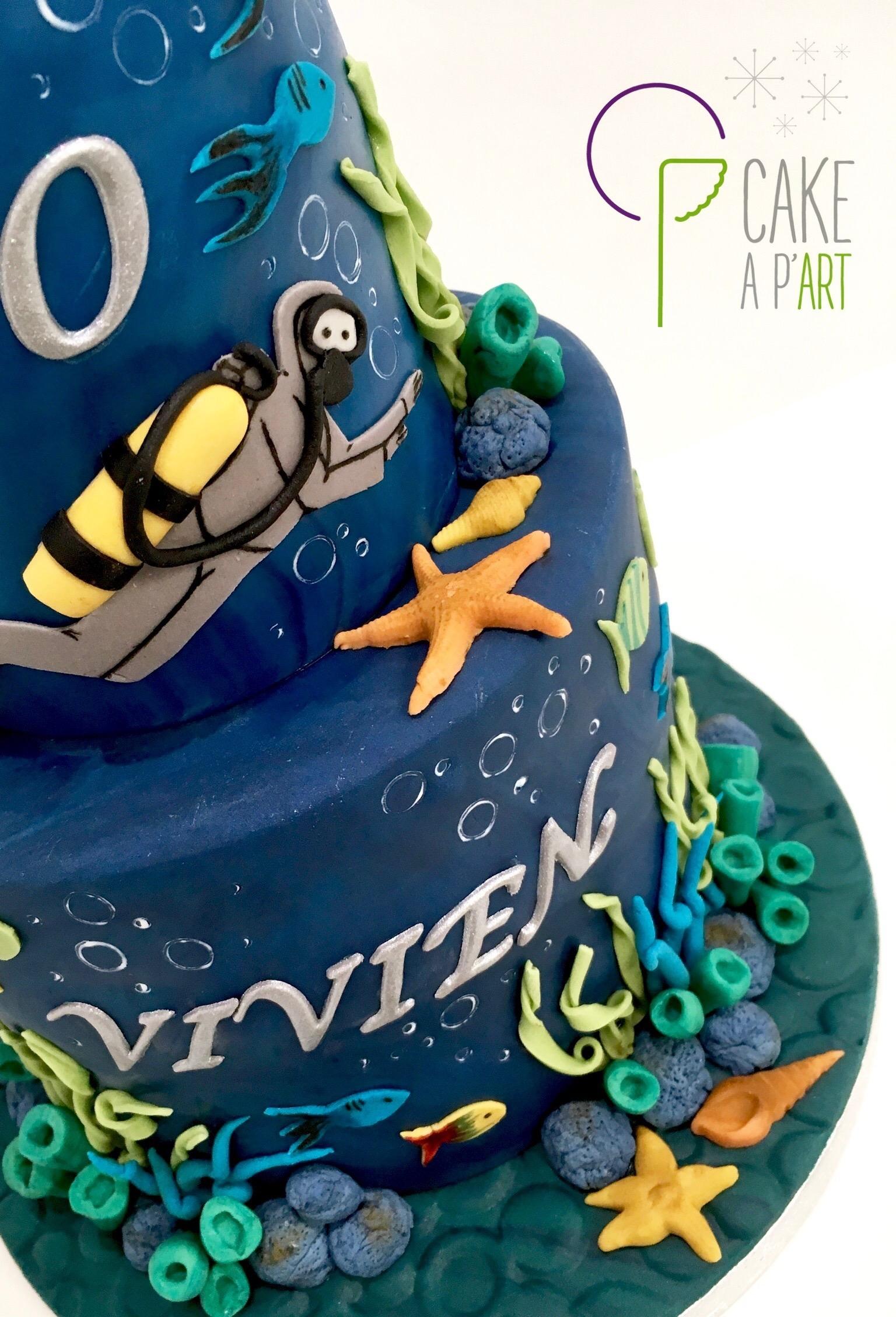 Gâteau sur mesure anniversaire adulte - Thème Plongée et marin