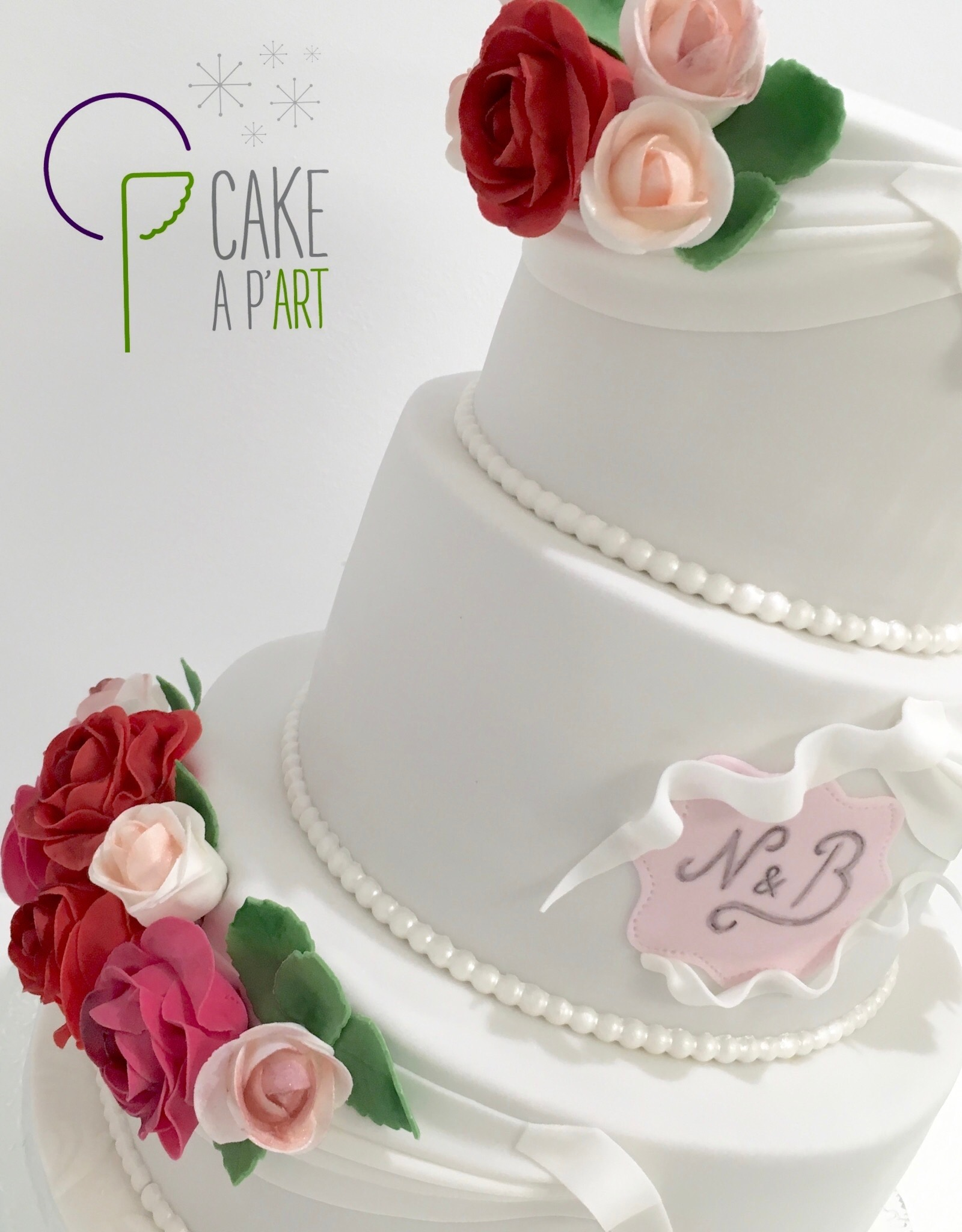Décor en sucre gâteaux personnalisés - Mariage fleurs Bouquets de roses