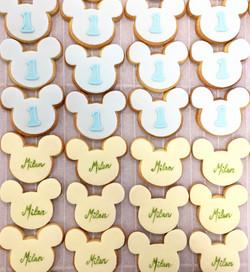 Gâteaux individuels personnalisés Anniversaire - Sablés décorés Thème Mickey