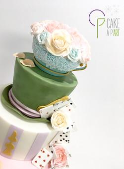 Décor en sucre gâteaux personnalisés - Mariage Alice aux pays des merveilles Tasse bouquet de roses