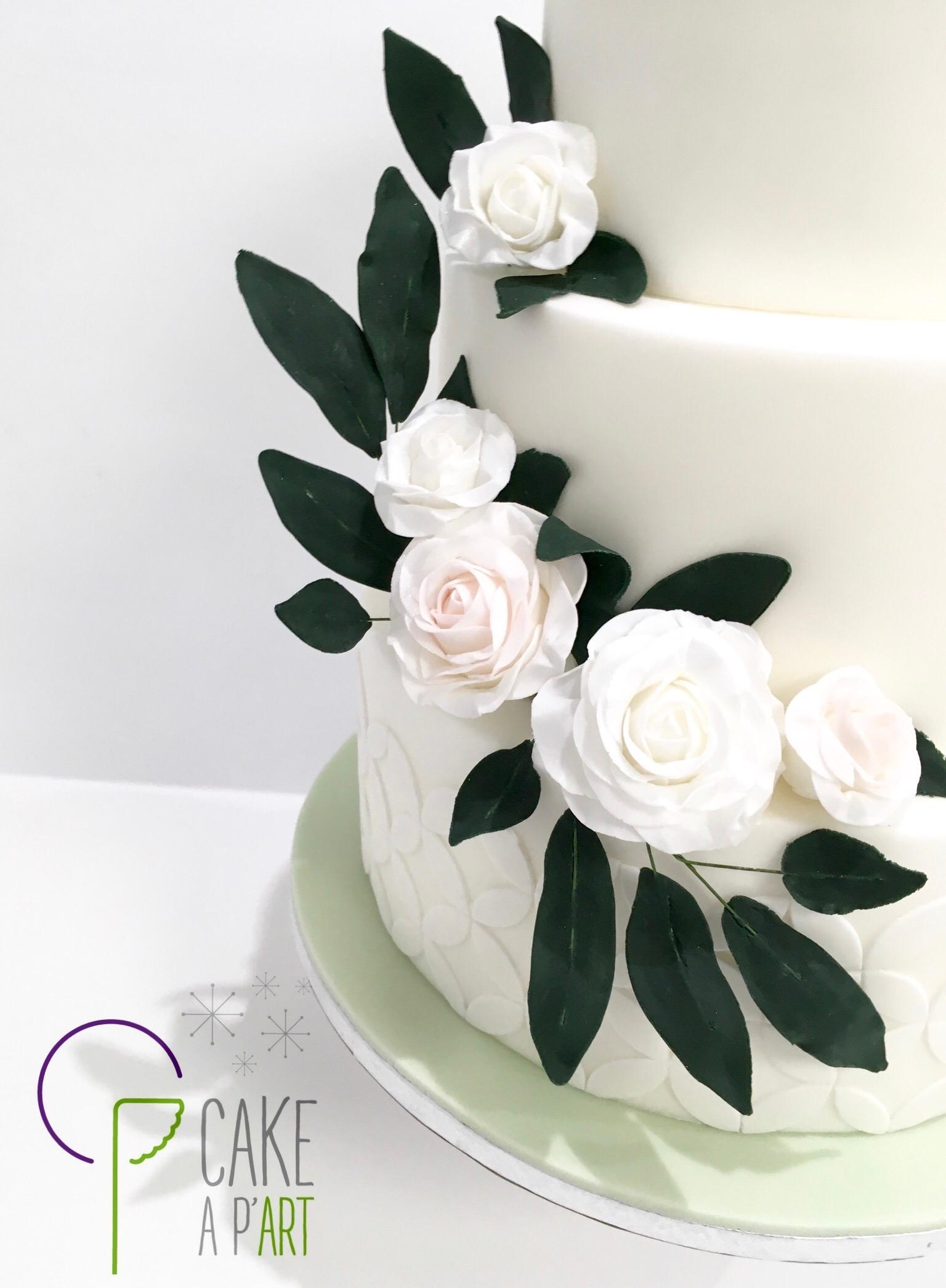 Décor en sucre gâteaux personnalisés - Mariage fleurs Couronne de roses