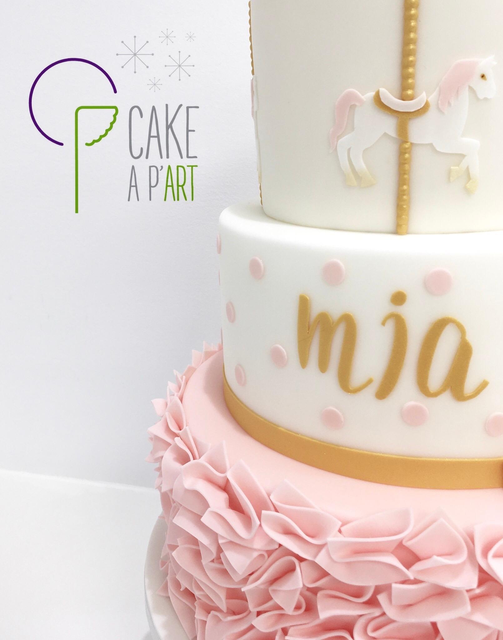 - Gâteau personnalisé baptême enfant - Thème Manège
