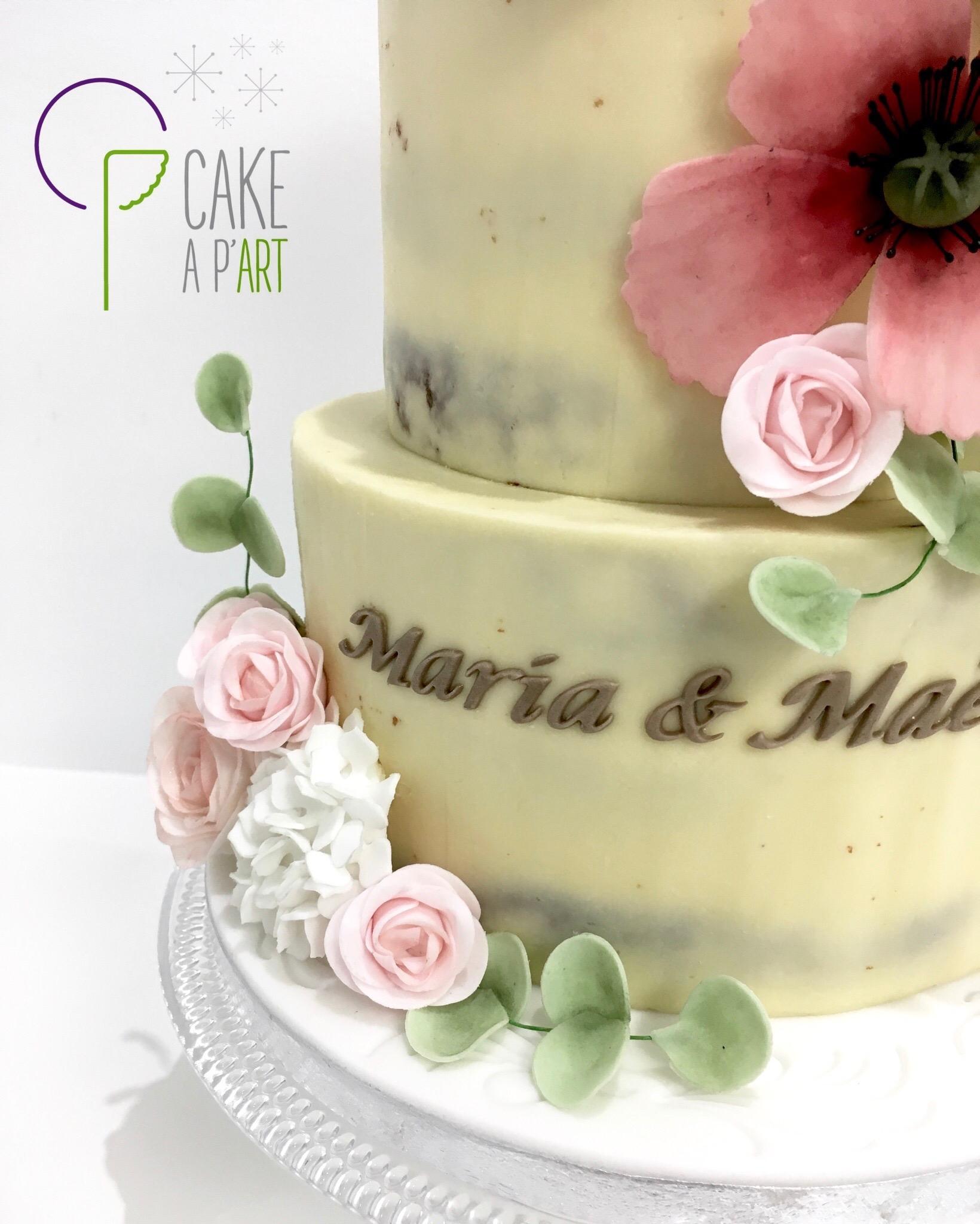 Pièce montée Baptême - Nude Cake Champêtre floral et Coquelicots
