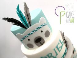 - Gâteau personnalisé baptême enfant - Thème ourson indien