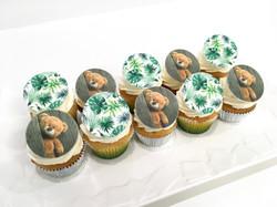 Gâteaux individuels personnalisés Baptême - Mini cupcakes Impression alimentaire Ourson et exotique