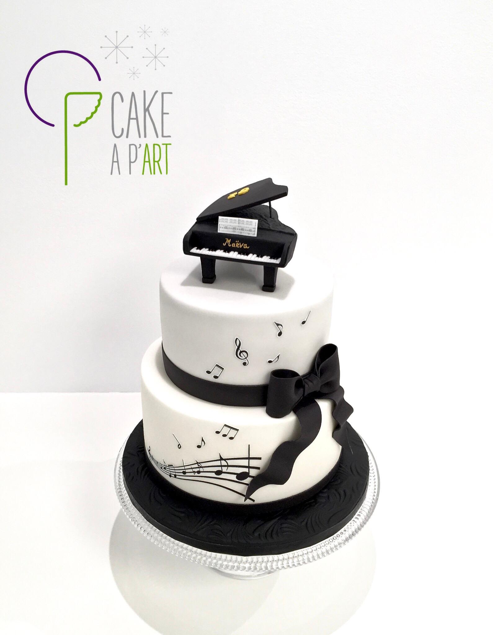 Gâteau sur mesure anniversaire adulte - Thème Piano et musique