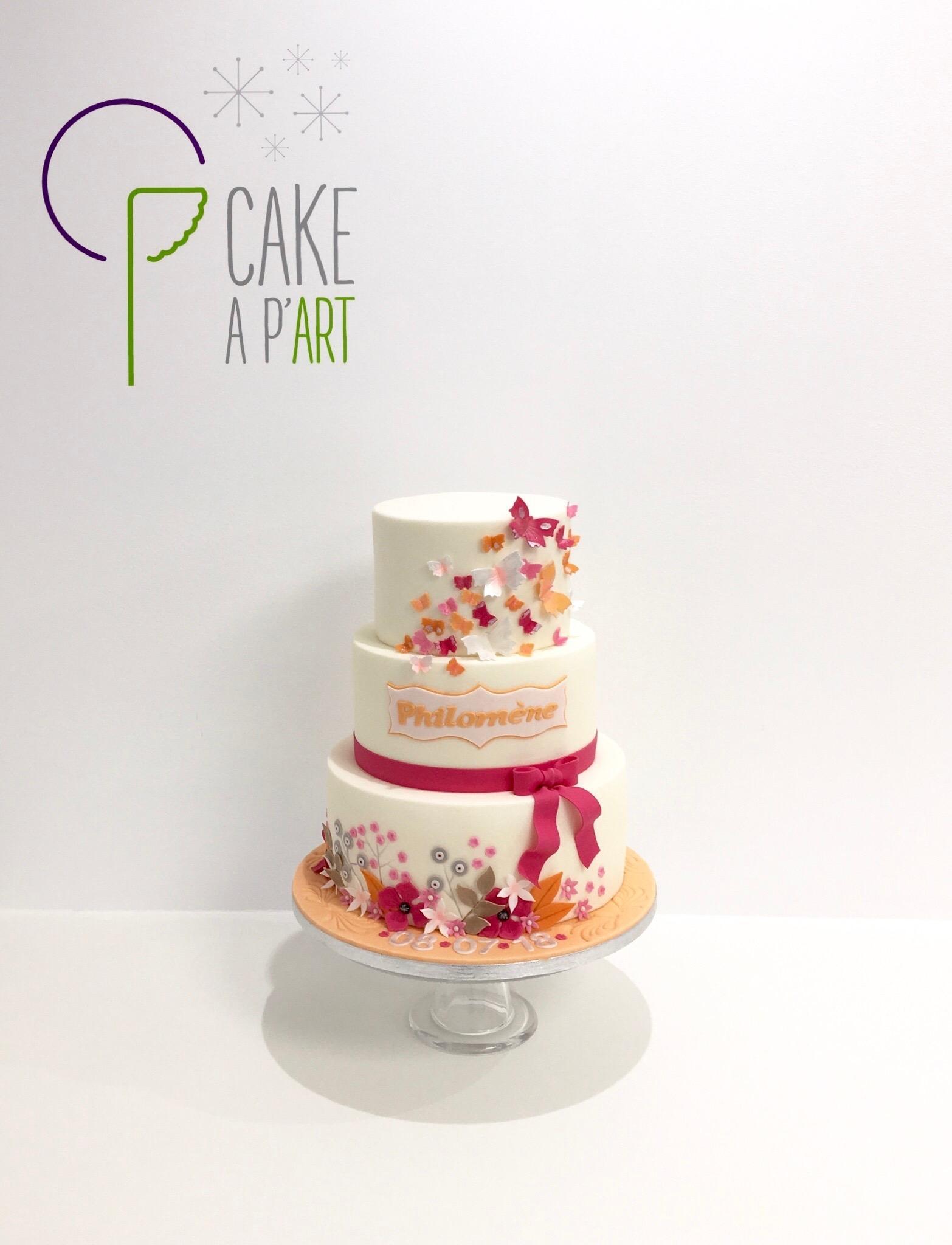 - Gâteau personnalisé baptême enfant - Thème Papillons et fleurs