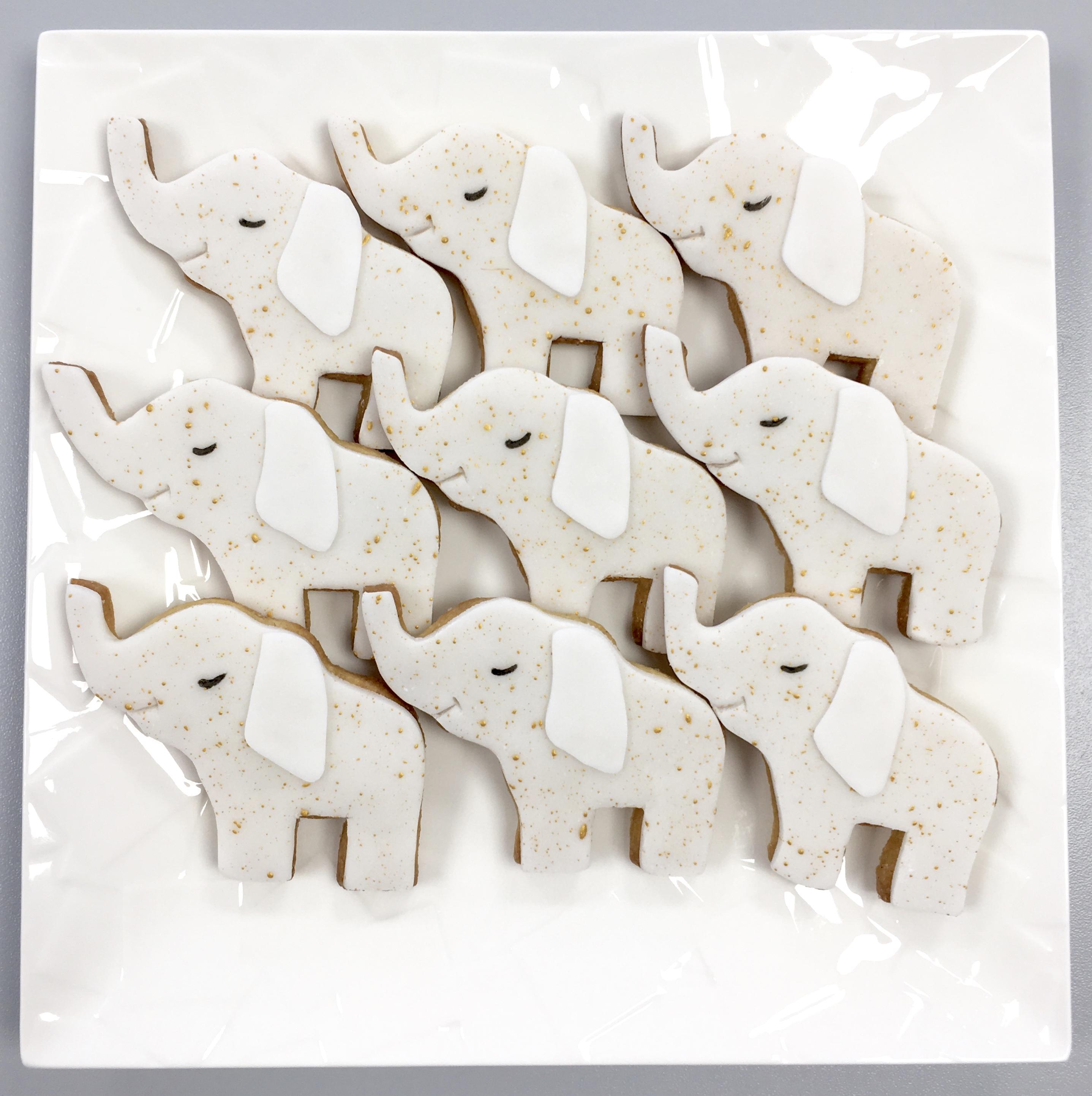 Gâteaux individuels personnalisés Anniversaire - Sablés décorés Thème Cirque Eléphants