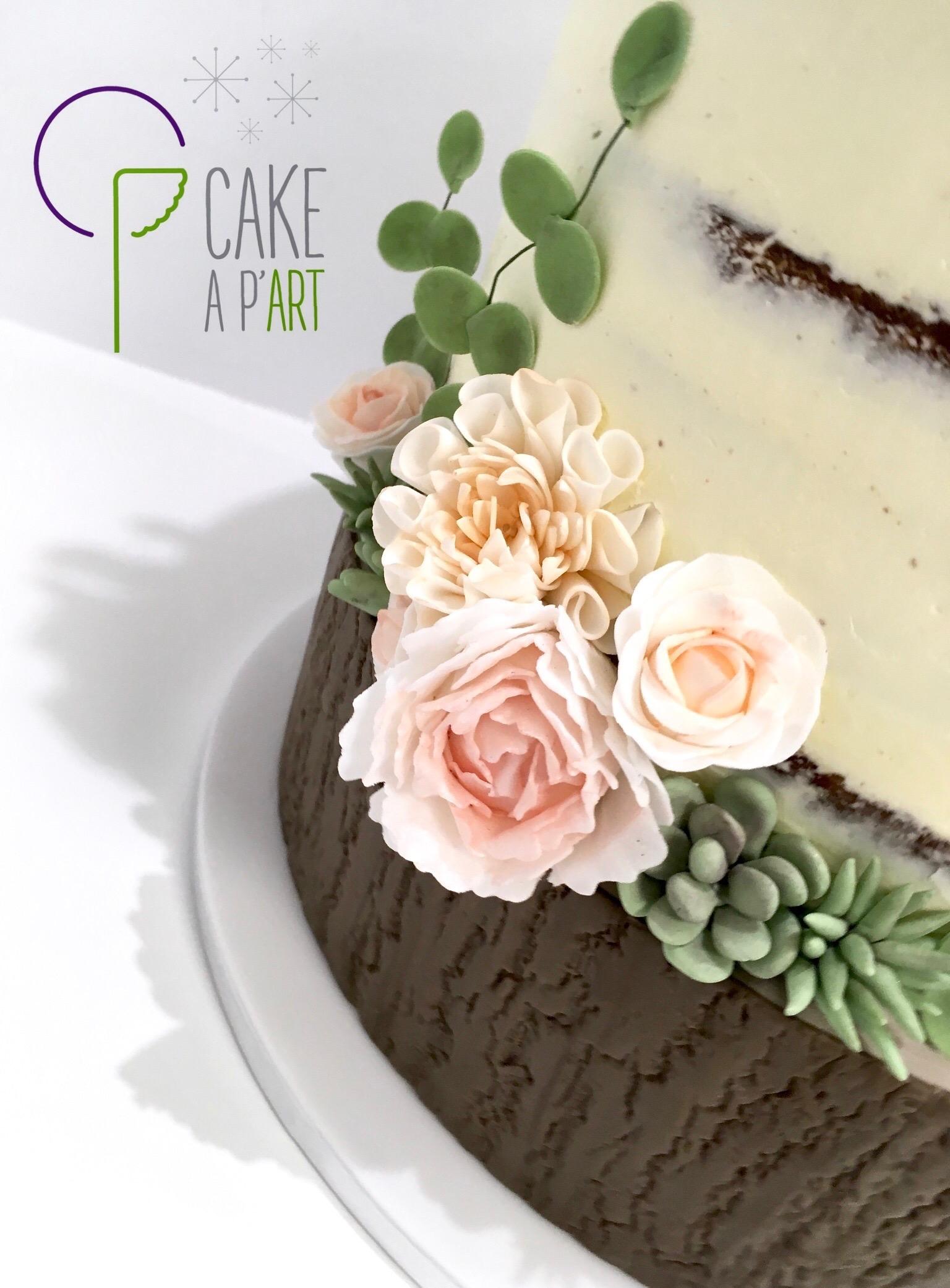 Wedding Cake Pièce montée Mariage - Nude Cake Champêtre et plantes grasses